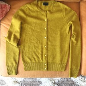 J. Crew XS cashmere cardigan sweater chartreuse